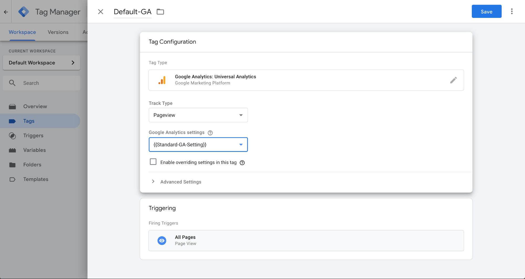 installazione tag page view con tag manager